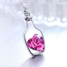 """Crystal Heart Necklace """"Message in a Bottle"""" Jewelry Pink or Blue Love Wine New"""
