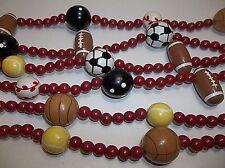"Vintage Wood Bead Christmas Tree Garland 110"" Soccer Basketball Football Bowling"
