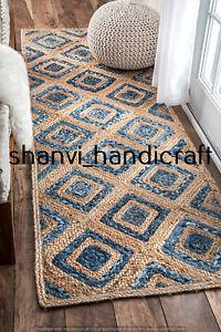 Handmade Braided Jute Runner Rug Bohemian Rag Rug 2x12 Feet Jute Denim Floor Rug