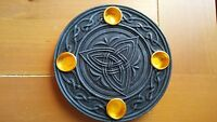 Triquetra Candle Wiccan Wicca Celtic Trinity Holders Altar Plate Taper Candles