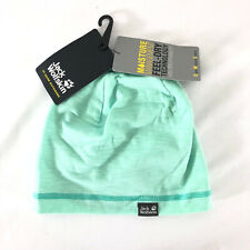 Jack Wolfskin Kids Travel Beanie Hat Anti Bacterial Prevents Odor Mint Green S