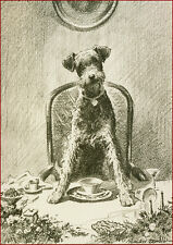 Airedale Terrier Dog Holiday by Morgan Dennis 1930's ~ New  Large Note Cards