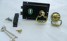 OLD VICTORIAN STYLE TRADITIONAL SOLID BRASS BLACK DOOR RIM LOCK CARRIAGE KNOB
