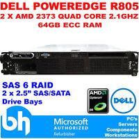Dell R805 PowerEdge Rack Server 2x AMD Quad Core 2.1GHz 64GB ECC RAM SAS6 RAID