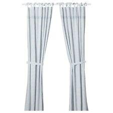 IKEA GULSPARV Curtains With Tie-Backs 1 Pair Striped Blue White 120x300 cm New