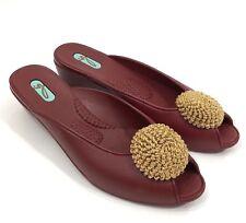 Oka B Womens Shoes Size Small 5.5-6.5 Red Gold Open Toe Kitten Heel Slip On