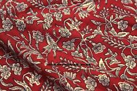 5 Yard Indian Hand Block Floral Print Fabric 100%Cotton Women Dress Voile Fabric