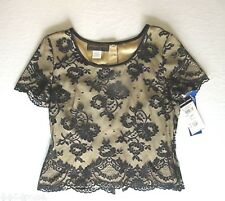 DONNA RICCO SPECIAL OCASSION Lace Over Champagne Linning Top Size 10P  NWT