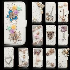 Luxury PU Leather Bling Crystal Flip Card Wallet Case Cover For Samsung Galaxy