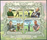 MOZAMBIQUE 2013 GOLF CHAMPIONS OF ALL TIME SHEET OF FOUR STAMPS