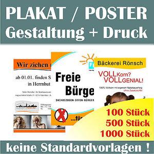 Poster Plakat individuelles Layout Entwicklung Erstellung Werbeplakat Druck