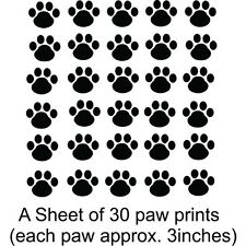 """Dog Paw Prints: Sheet of 30 3"""" Wide Paws  Vinyl Wall Decal / Sticker [Animal 3]"""