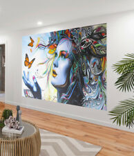Canvas Street Art Print Urban BUTTERFLY PRINCESS Painting 70cm Australia