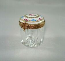 Limoges Trinket Box - Cut Glass Rouge Pot w/ limoges Lid - Peint Main