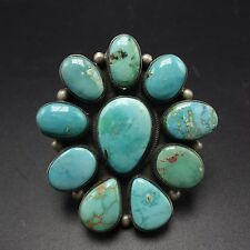 HUGE Signed NAVAJO Sterling Silver & TURQUOISE Cluster RING, size 9.75 , 34.8g