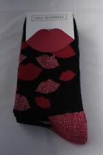 Lulu Guinness Legwear Trainer Socks Black Red Lips 3 Pairs