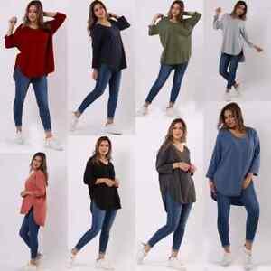 Italian Women Ladies Plain V-Neck High Low Style Lagenlook Baggy New Top
