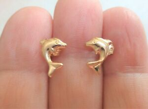 14K Yellow Gold Stamped, 0.5 grams, Miniature Dolphin Stud Earrings Set.