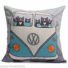 Black CAT CAMPERS New LINEN-COTTON Mix Canvas VW Campervan CUSHION COVER UK Post