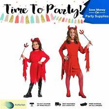 Kids Red Devil Horns School Girls Party Dead Horror Halloween Costume Child Cute