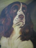 ANTIQUE OIL PAINTING HUNTING DOG SPRINGIER SPANIEL COUNTRY PRIMITIVE FOLK ART