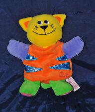 Peluche Doudou Marionnette Chat TIAMO Collection Orange Jaune  TTBE