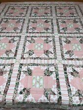 VINTAGE ANTIQUE PINK ROSES FLORAL BED QUILT THROW EIDERDOWN PATCHWORK HANDMADE