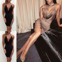 Club Mini Bodycon Short V Dress Deep Women's Bandage Sexy Evening Party Cocktail