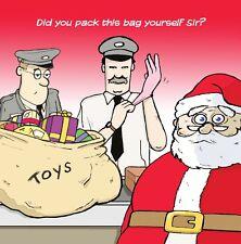 Merry Christmas Card with Santa & Airport -Funny Christmas Card -Xmas Card -Toys