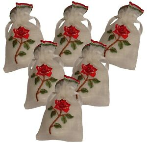 6 Red Rose Embroidered White Organza Semi Sheer Drawstring Lavender Guest Soap