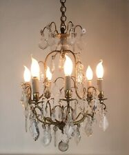 Antique French Birdcage Style Large Chandelier 6 Arm Crystal Ceiling Light