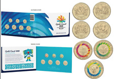 2018 SET OF 7 XXI COMMONWEALTH GAMES COINS GOLD COAST $1  $2  IN FOLDER BOROBI