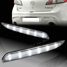 For 2010-2013 Mazda 3 Clear Lens Red LED Rear Bumper Reflector Brake Light Lamps