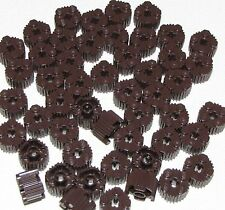 Lego Lot of 50 New Dark Brown Bricks Round 2 x 2 with Grille and Axle Hole