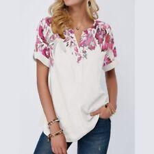 Summer Womens Casual Short SleeveT Shirt V Neck Tunic Floral Loose Blouse