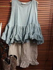 OSFM  RITANOTIARA TEAL BLUE PRAIRIE GYPSY TIERED TANK TOP COTTON SILK VOILE BOHO