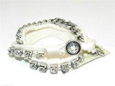 Fossil Boyfriend Wrap Bracelet Silvertone White Cord Crystals Logo Button New!