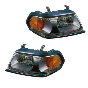Headlights Pair Set for 00-04 Mitsubishi Montero Sport (Black) Left & Right