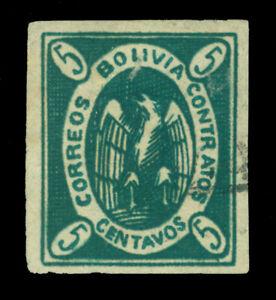 BOLIVIA  1867  CONDOR  5c  green   Scott # 2b used VF