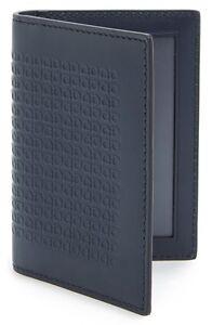 SALVATORE FERRAGAMO 'Mini Gancini' Leather Card Case Blue Ink 6H97282J