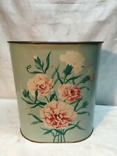 Vintage-Rustic 50's Floral Carnations Shabby Blue Metal Trash Can Waste Basket