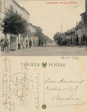 Postal. CALAHORRA (Logroño). Avenida de la Estación. Escrita el 20/2/1923.