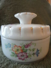 French Porcelain Powder Dish Trinket Container Floral Vintage