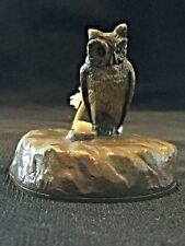 ANTIQUE VICTORIAN BRONZE BELL PUSHER WITH OWL