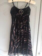 Star By Julian Mac Donald Size 10 Shoe String Strap Dress Black & Bronze Used