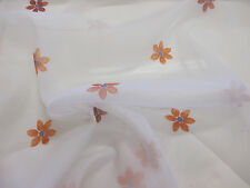 White with Orange Flower Petals, Floral  Printed Organza Curtain fabric.