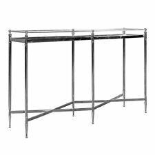 """47"""" w Console Table polished stainless steel inlaid mirror cross stretcher"""