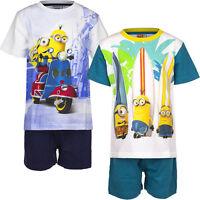 Pyjama Set Kurz Schlafanzug Jungen Minions weiß blau mint 104 116 128 140 #75