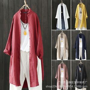 New cotton linen blouse women retro casual stand collar shirt long sleeve coat