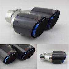 """Carbon fiber tailpipe blue steel twin exhaust muffler 63mm(2.5"""")-89mm (3.5 """")"""